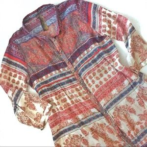 Anthro Aratta Silent Journey button boho tunic, L